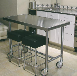 Stainless Steel Tables And Cabinets For The Home Kitchen