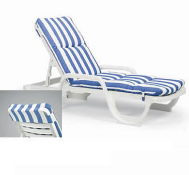 Deck chair cushions chair pads cushions for Blue and white striped chaise lounge cushions
