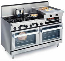 61 Home Range With 6 Open Burners 24 Griddle Broiler Are Two 26 1 2 Ovens Shown Optional Glass Oven Doors