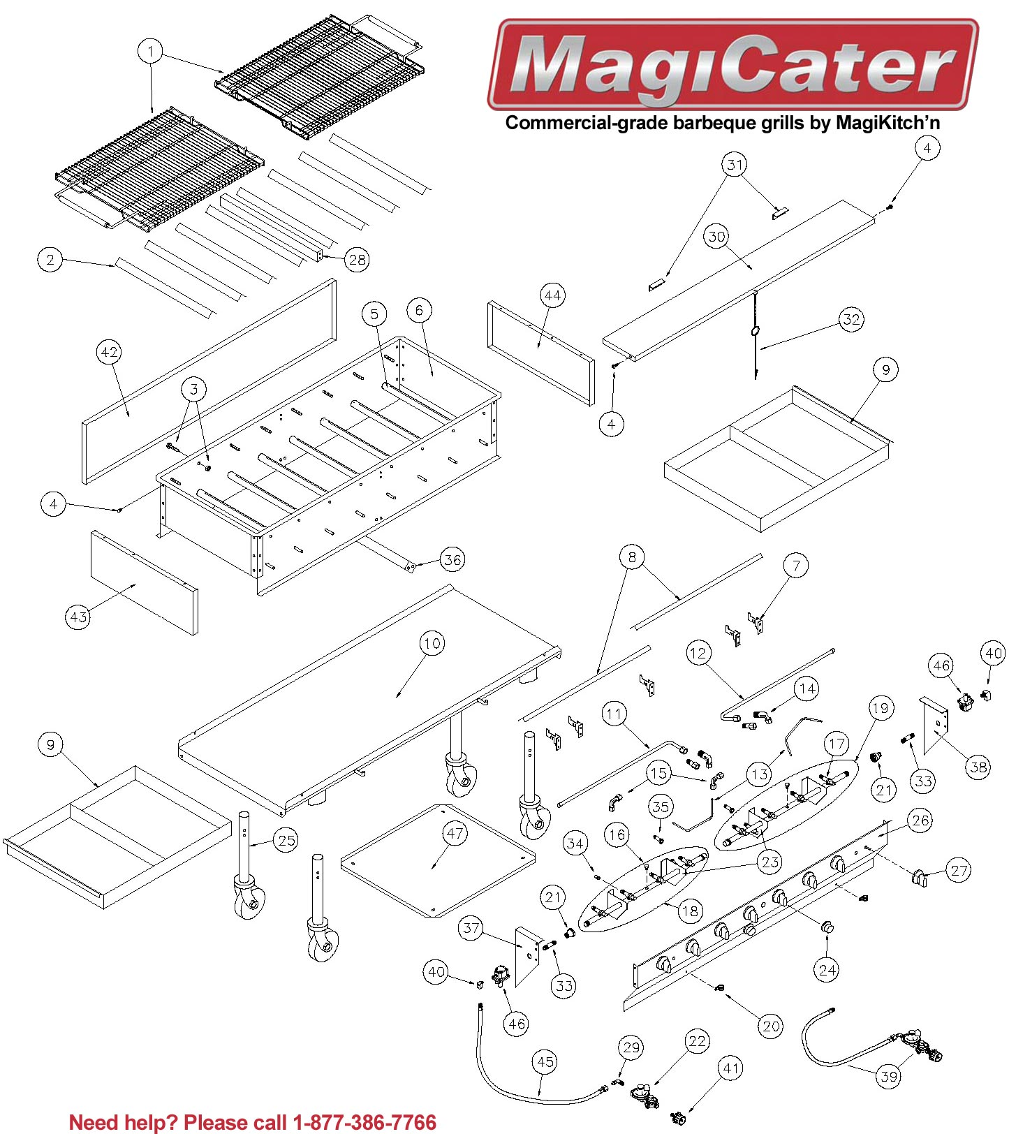 Replacement Parts For MagiCater Outdoor Gas & Charcoal