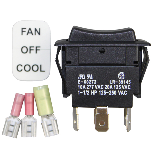 Switch with FAN-OFF-COOL labels,  Fits models: V136, VG60, 26, 115
