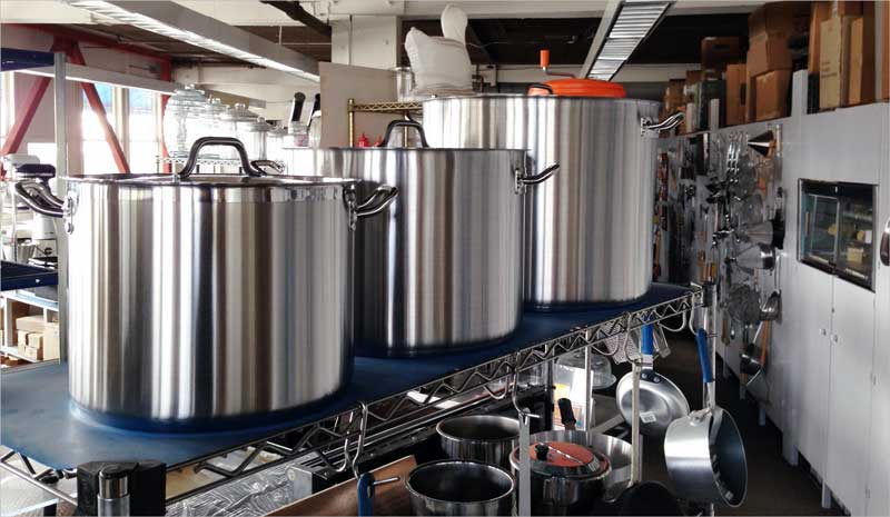 Size 24 40 And 80 Quart Stock Pots In Our Showroom Sausalito