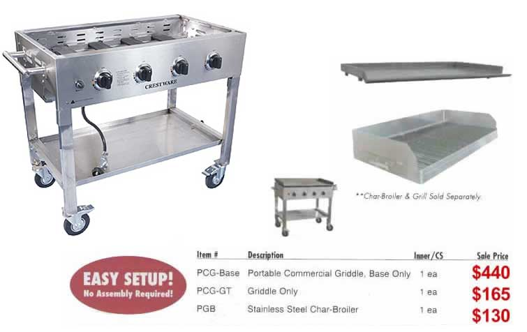 Portable Outdoor Griddle ~ Crestware portable commercial griddles and grills plus