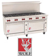 2009 Wolf Challenger XL 60 inch restaurant range with red knobs