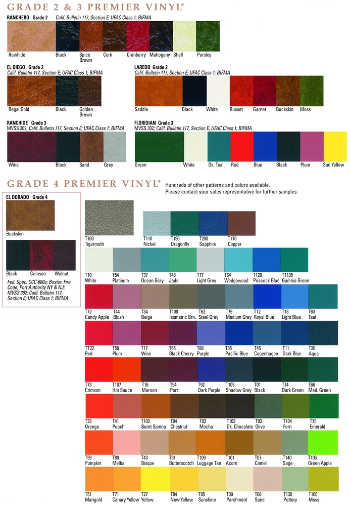 Regal Seating Vinyl Color Swatches