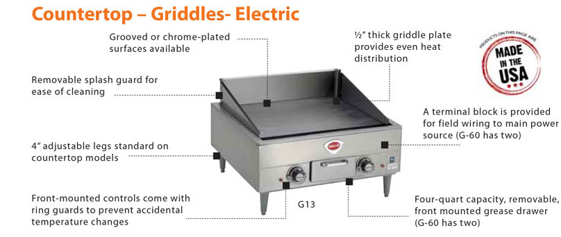 Wells Electric Countertop Griddles